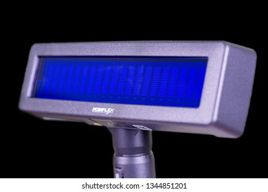 Taipei, Taiwan - March 15, 2019: Cash register display on black Background