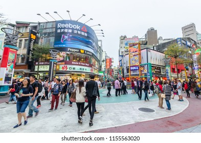 Taipei, Taiwan - March 16, 2015 : Ximending, it is the source of Taiwan's fashion, subculture and Japanese culture. People can seen walking and shopping around it.