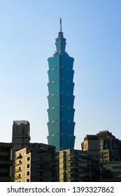Taipei, Taiwan - March 26, 2019: Taipei 101 standing tall against the clear blue sky