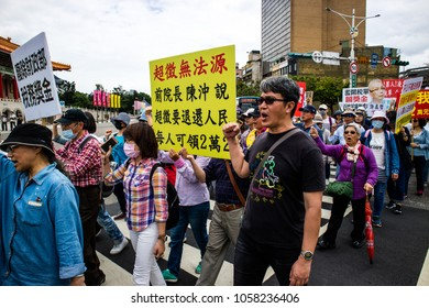 TAIPEI, TAIWAN - MARCH 30, 2018: Taiwanese people protest the government's income tax.