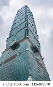 Taipei, Taiwan - May 01, 2016: Low angle shot of Taipei 101, formerly known as the Taipei World Financial Center – is a landmark supertall skyscraper in Xinyi District, Taipei, Taiwan.