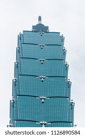 Taipei, Taiwan - May 01, 2016: Close up view of Taipei 101, formerly known as the Taipei World Financial Center – is a landmark supertall skyscraper in Xinyi District, Taipei, Taiwan.
