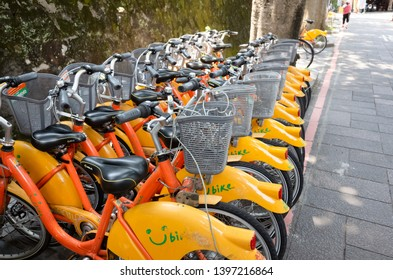 Taipei, Taiwan - May 12th, 2019:row of bicycles called Ubike, a bike sharing system service used by citizens as short-distance transit vehicles in Taipei, Taiwan, Asia