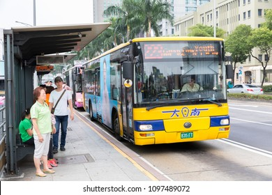 TAIPEI, TAIWAN - MAY 13, 2018 : The crowd was hastily off the bus on the bus for shopping and travel in holiday at Ximending in Taipei ,Taiwan.