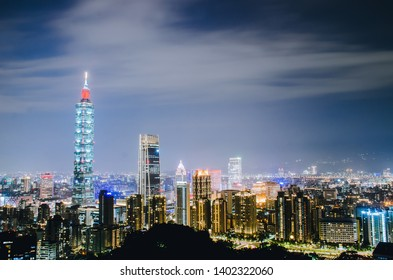 TAIPEI, TAIWAN - May 13, 2019: Night of taipei city with 101 tower, Center is a landmark skyscraper in Taipei, Taiwan. The building was officially classified as the world's tallest in 2004 until 2010.