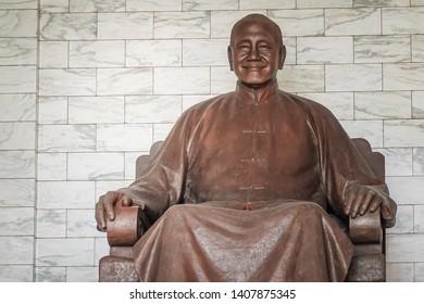 Taipei, Taiwan - MAY 13, 2019 : The bronze statue of Chiang Kai-shek in the main chamber of the Chiang Kai-shek Memorial Hall a famous tourist landmark at Taipei, Taiwan