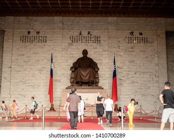 Taipei, Taiwan - MAY 13, 2019 : The bronze statue of Chiang Kai-shek in the main chamber of the Chiang Kai-shek Memorial Hall a famous tourist landmark The important point of Taipei Taiwan.