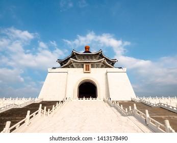 Taipei, Taiwan - May 13, 2019: A famous monument, landmark and tourist attraction erected in memory of Generalissimo Chiang Kai-shek, Chiang Kai Shek memorial hall, Taiwan.