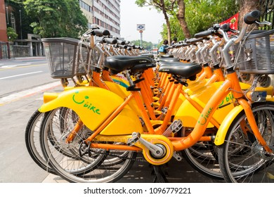 TAIPEI, TAIWAN - MAY 13,2018 : Bicycle Parking Lot of UBike. YouBike is the Public Bike Sharing System in Taipei