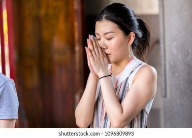 Taipei, Taiwan - May 14, 2018 : People pray in Longshan Buddhist temple in Taipei city, Taiwan