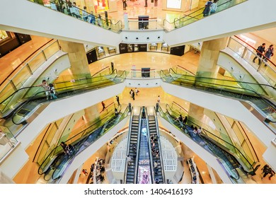Taipei, Taiwan - May 17, 2019: interior of the commercial in Taipei 101 Shopping Mall, The multi-story retail mall is home to hundreds of fashionable stores, restaurants, clubs and other attractions.