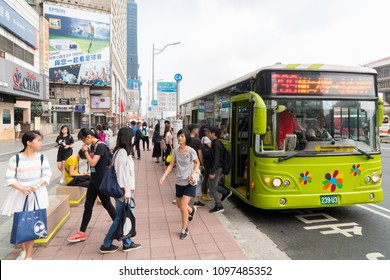 TAIPEI, TAIWAN - MAY 19, 2018 : The people was hastily off the bus in the morning to work on the bus at front of Taipei main station in Taipei ,Taiwan.
