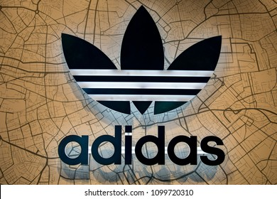 TAIPEI, TAIWAN - MAY 19, 2018: Logo Adidas original store in Ximending in Taipei, Taiwan. Adidas is a multinational corporation that designs and manufactures shoes, clothing and accessories