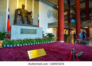 Taipei, Taiwan - MAY 2016: The Sun Yat-sen seated statue in the center of the Sun Yat-sen Memorial Hall.