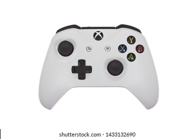 Taipei, Taiwan - May 31, 2019: A floating white Microsoft XBOX One controller isolated on a white background