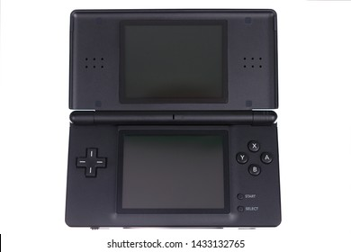 Taipei, Taiwan - May 31, 2019: A floating Nintendo DS handheld system isolated on a white background