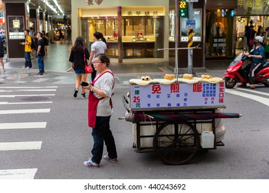 TAIPEI, TAIWAN - May 4 : Hawker food at the Ximending street market in Taipei, Taiwan on May 4, 2016 .This street is the gathering place for youngster in Taipei.