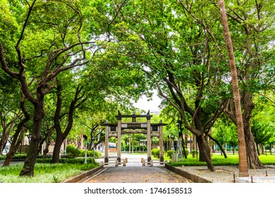 Taipei, Taiwan- May 9, 2020: Traditional Chinese style pagoda and pavilion at 228 Peace Memorial Park in Taipei City.