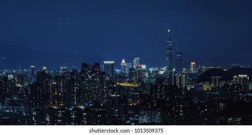Taipei, Taiwan Night View - Asia business city concept image, modern cityscape building in Taipei, Taiwan.