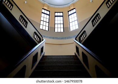 Taipei / Taiwan - Nov. 10, 2018: The interior stairs of the Taiwan New Cultural Movement Memorial Museum  was previously known as the Criminal Police Corps.