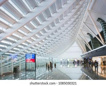 Taipei, TAIWAN - NOV 19, 2017 : Taiwan Taoyuan International Airport Modern Architecture Interior with people travling