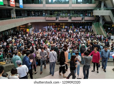 Taipei, Taiwan - Nov 24 2018: Long queues as Taiwanese voting in mayoral and magisterial elections, A multi-question referendum alongside local elections, in an elementary school