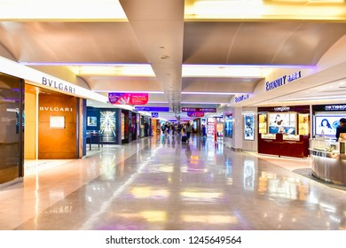 TAIPEI, TAIWAN - NOV 25,2018 : Duty-free shopping area Terminal 1of Taoyuan International Airport It's the busiest airport in the country and the main international hub for China Airlines and EVA air
