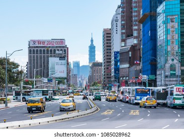 Taipei, TAIWAN - NOV 28, 2017 : Taipei 101 landmark of Taipei view from city street Taipei Main station area Building business district