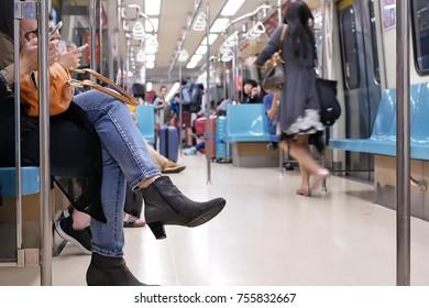 Taipei, Taiwan - November 10, 2017 : Close up people foot of their taking skytrain in Taipei Taiwan