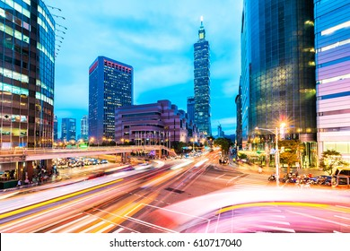 TAIPEI, TAIWAN - NOVEMBER 11: View of Taipei 101 world trade center building and modern architecture in the downtown area of Taipei on November 11, 2016 in Taipei