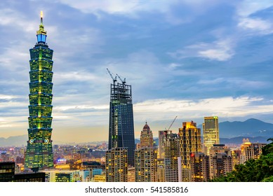 TAIPEI, TAIWAN - NOVEMBER 18: Evening view of Taipei financial district architecture and 101 building in the evening on November 18, 2016 in Taipei