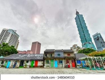 Taipei, Taiwan - November 20, 2018: View of Taipei 101 from Si-Si Nan Cun Village, It is old village Originally a housing complex for soldiers in the Kuomintang army after the relocation to Taiwan