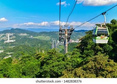 Taipei, Taiwan - November 21, 2018:  Maokong Gondola. Cable car moving across the hills, It's a gondola lift transportation system in Taipei, Taiwan