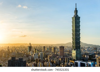 TAIPEI, TAIWAN - OCT 09, 2017:  Taipei World Financial Center is a landmark skyscraper in Taipei, Taiwan. The building was officially classified as the world's tallest in 2004 until 2010.