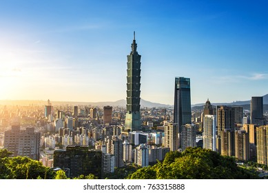 TAIPEI, TAIWAN - OCT 09, 2017: known as the Taipei World Financial Center is a landmark skyscraper in Taipei, Taiwan. The building was officially classified as the world's tallest in 2004 until 2010.