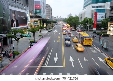Taipei, Taiwan OCT 11 2014 - a view of random busy road at taiwan