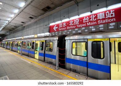 TAIPEI, TAIWAN - OCT  22: Chiang Kai-Shek Memorial Hall Station October 22, 2013 in Taipei, TW. The station serves the Tamsui and the Xindian/Xiaonanmen Branch Lines