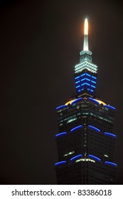 TAIPEI, TAIWAN - OCTOBER 16: The top of Taipei 101 illuminated at night on October 16, 2010 in Taipei, Taiwan. Taipei 101 (also World Financial Center) was the world's tallest building until 2010.