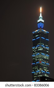 TAIPEI, TAIWAN - OCTOBER 22: Taipei 101 with brightly lit offices at night on October 22, 2010 in Taipei, Taiwan. Taipei 101 (also World Financial Center) was the world's tallest building until 2010.