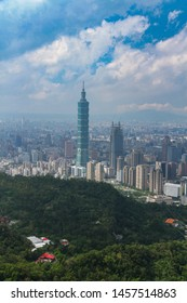 Taipei, Taiwan - October 23, 2016 : View of Taipei 101 from Xiangshan Hiking Trail and Jiuwufeng Hiking Trail is a natural trail near downtown Taipei. Taipei 101 building the top attraction of Taiwan.