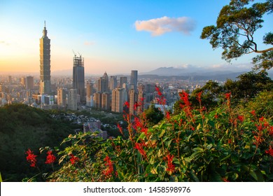 Taipei, Taiwan - October 23, 2016 : Twilight of Taipei 101 from Xiangshan Hiking Trail is a natural trail near downtown Taipei. Taipei 101 building the top attraction of Taiwan.