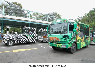 Taipei, Taiwan - October 24, 2016 : Sightseeing car in Taipei Zoo or Muzha Zoo is a public zoological garden in Wenshan District, It is the most famous zoological garden in Taiwan.