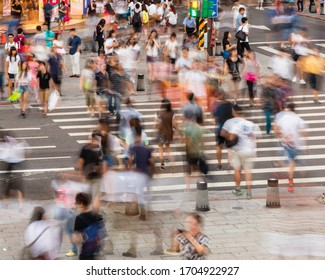 TAIPEI, TAIWAN - OCTOBER 4, 2015: Crowds of shoppers and tourists in the Ximending District, the center of fashion and culture for young people in Taiwan.