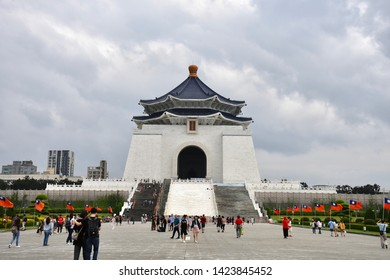 TAIPEI, TAIWAN - OCTOBER 9,2018: The atmosphere of Chiang Kai-shek Mamorial Hall, the famous landmark for travel, with local people and traveller, Taipei
