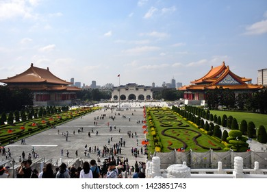 TAIPEI, TAIWAN - OCTOBER 9,2018: The atmosphere at the Chiang Kai-shek Mamorial Hall area with local people and traveller, Taipei