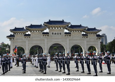 TAIPEI, TAIWAN - OCTOBER 9,2018: The rehearsal of Taiwan army for taiwan national day on 10th october at the area of the Chiang Kai-shek Memorial Hall, Taipei