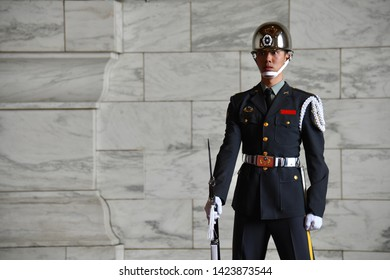 TAIPEI, TAIWAN - OCTOBER 9,2018: The soldier on active time for guarding inside the Chiang Kai-shek Memorial Hall, Taipei