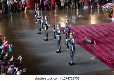 Taipei, Taiwan, Republic of China - December 23, 2018:  Changing of the guard National Sun Yat-sen Memorial Hall, Xinyi District