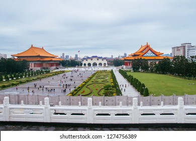 Taipei, Taiwan, Republic of China - December 25, 2018: Liberty Square from Chiang Kai-shek Memorial Hall, Liberty Square, Zhongzheng District