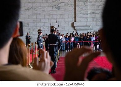 Taipei, Taiwan, Republic of China - December 25, 2018:  Changing of the guard,  Chiang Kai-shek Memorial Hall, Liberty Square, Zhongzheng District